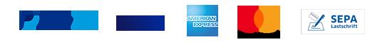 PayPal, VISA, AmericanExpress, Master Card, Sepa  Lastschrift